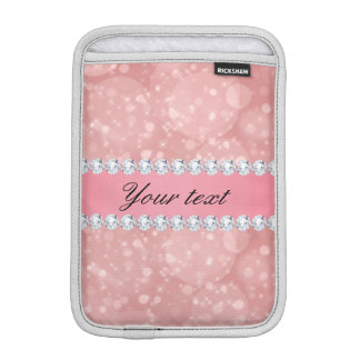 Pink Bokeh Sparkles and Diamonds Personalized Sleeve For iPad Mini