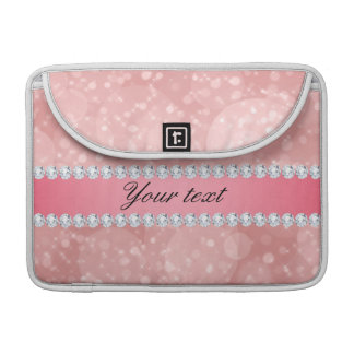 Pink Bokeh Sparkles and Diamonds Personalized Sleeve For MacBook Pro