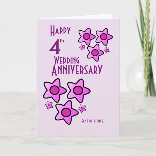 pink bold flower design 4th wedding anniversary card - Wedding Anniversary Cards