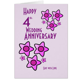 Pink bold flower design 4th wedding anniversary card