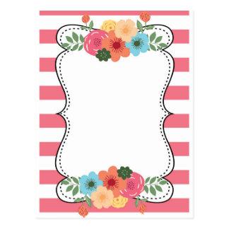 Pink Bold Stripes Modern Flowers Post Card