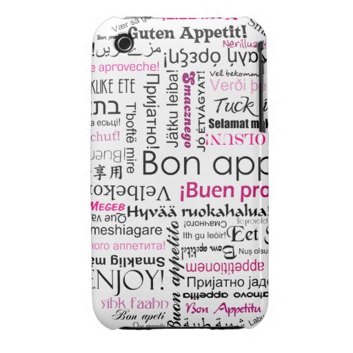 Pink Bon appetit in many languages iPhone 3 Case-Mate Case