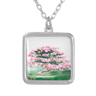 Pink Bonsai Silver Plated Necklace