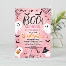 Pink Boo Girls Halloween Party Birthday Invitation