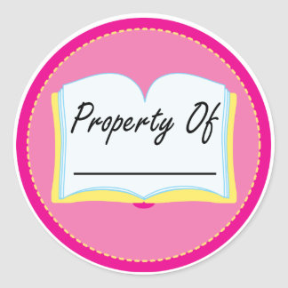 Pink Book Property Of Reading Bookplates Classic Round Sticker
