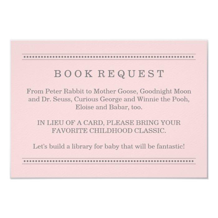 pink book request baby shower enclosure card zazzle
