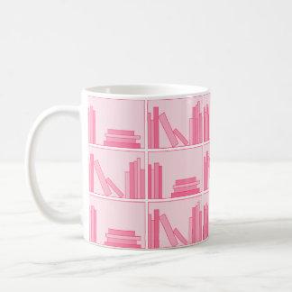 Pink Books on Shelf. Coffee Mug