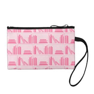 Pink Books on Shelf. Coin Purse