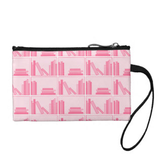 Pink Books on Shelf. Coin Wallet