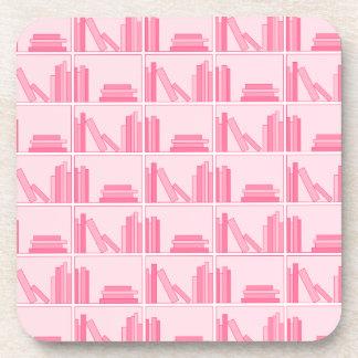 Pink Books on Shelf. Beverage Coaster