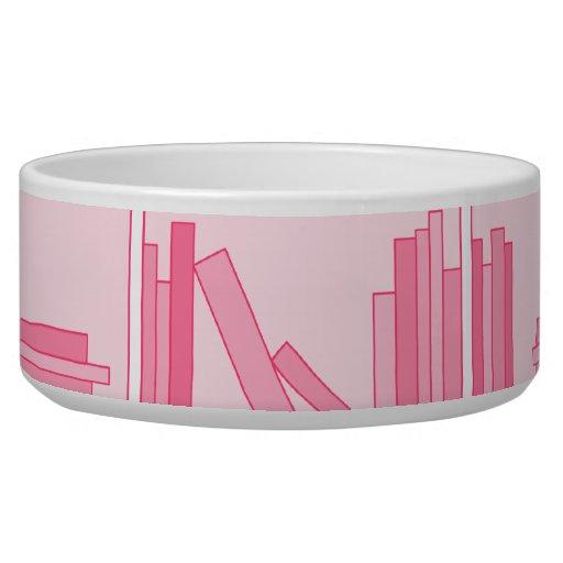 Pink Books on Shelf. Dog Bowls