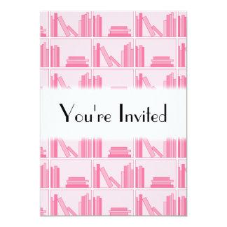 Pink Books on Shelf. Invites