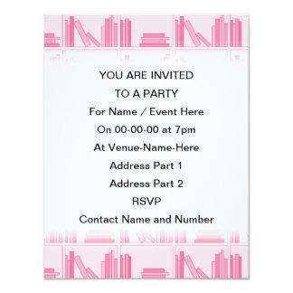 Pink Books on Shelf. Custom Invites