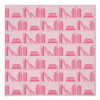 Pink Books on Shelf. Posters
