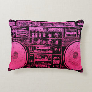 pink boombox accent pillow