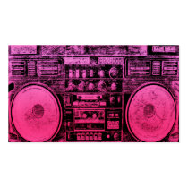 urban, music, funny, fashion, girly, 80's, boombox, hip hop, old school, pink, fun, cool, ghetto blaster, best, selling, girl, original, business card, Business Card with custom graphic design