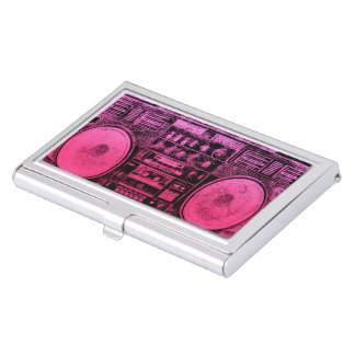 pink boombox business card holder