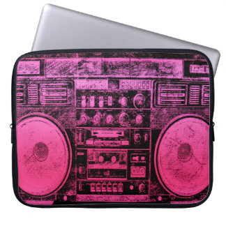 Pink boombox computer sleeve