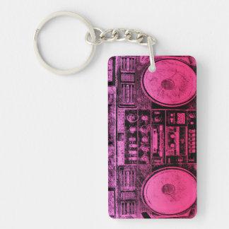 pink boombox Double-Sided rectangular acrylic keychain