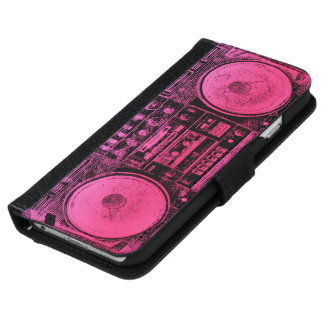 pink boombox iPhone 6 wallet case