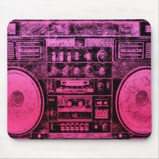 pink boombox mouse pad