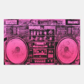 pink boombox rectangular sticker