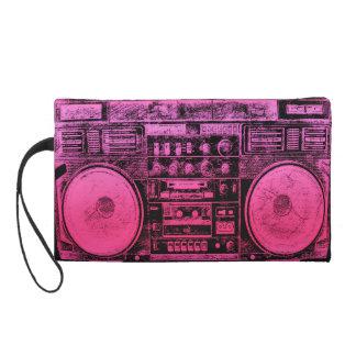 pink boombox wristlet purse