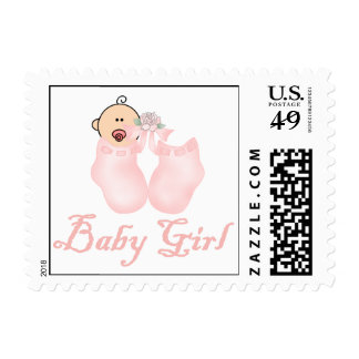 Pink Booties Baby Girl Postage Stamps