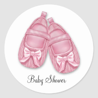 Pink Booties Baby Shower Classic Round Sticker
