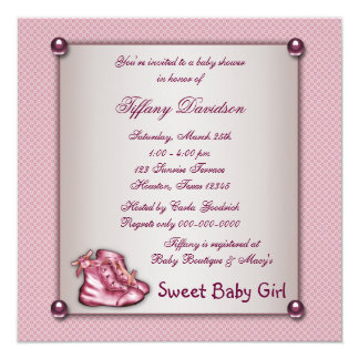 Pink Booties Vintage Pink Baby Girl Shower Card