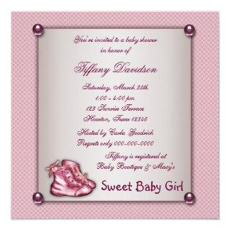 Pink Booties Vintage Pink Baby Girl Shower Custom Invites