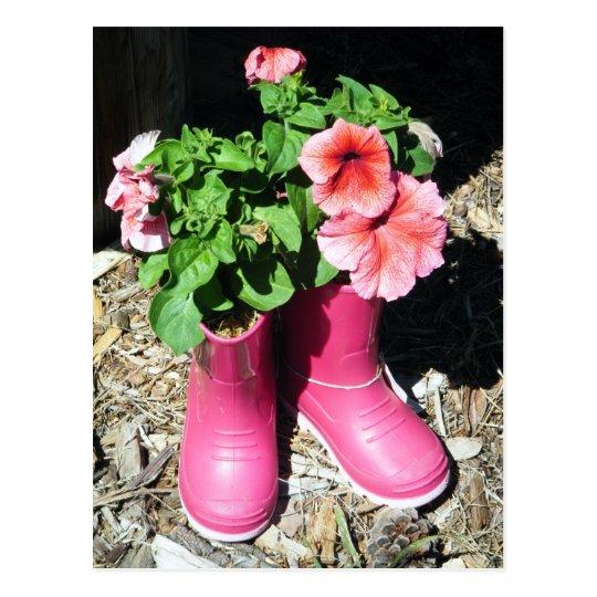 Pink Boots Flower Postcard