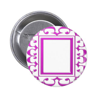 PINK Border Decoration: Add Text Image Pinback Button