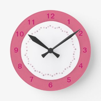 Pink border on white, polka dots wall clock