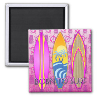 Pink Born To Surf 2 Inch Square Magnet