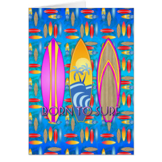 Pink Born To Surf Greeting Card