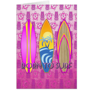 Pink Born To Surf Cards