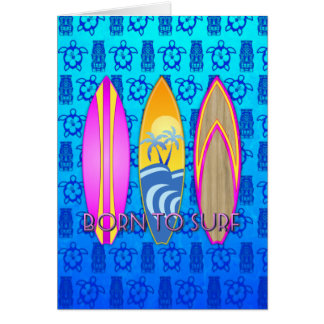 Pink Born To Surf Greeting Cards