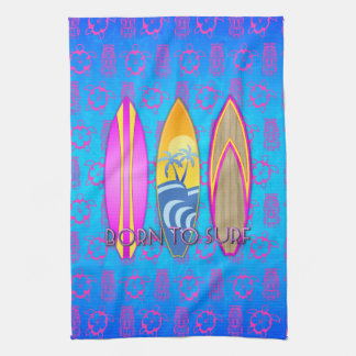 Pink Born To Surf Hand Towel