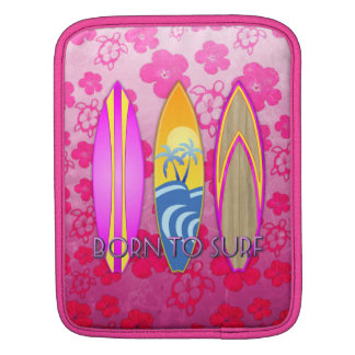 Pink Born To Surf Sleeves For iPads