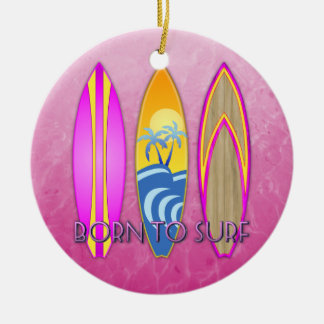 Pink Born To Surf Double-Sided Ceramic Round Christmas Ornament