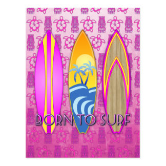 Pink Born To Surf Post Cards