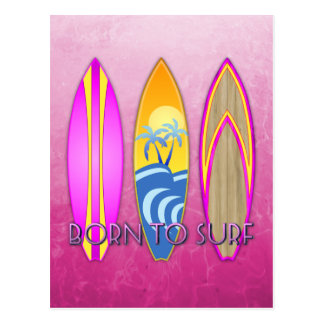 Pink Born To Surf Postcards