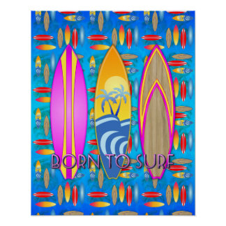 Pink Born To Surf Poster