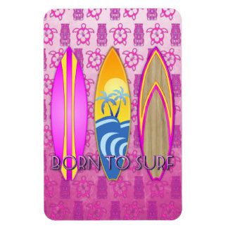 Pink Born To Surf Rectangular Photo Magnet