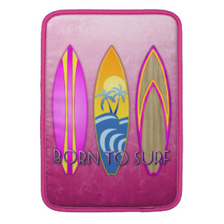 Pink Born To Surf Sleeves For MacBook Air