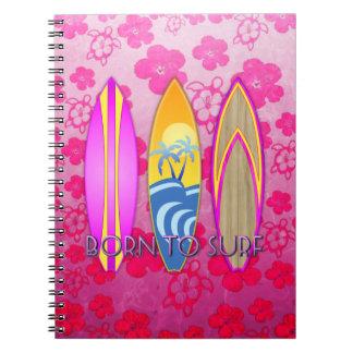 Pink Born To Surf Spiral Notebook