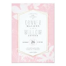 Pink botanical print wedding invitation, sunprint card