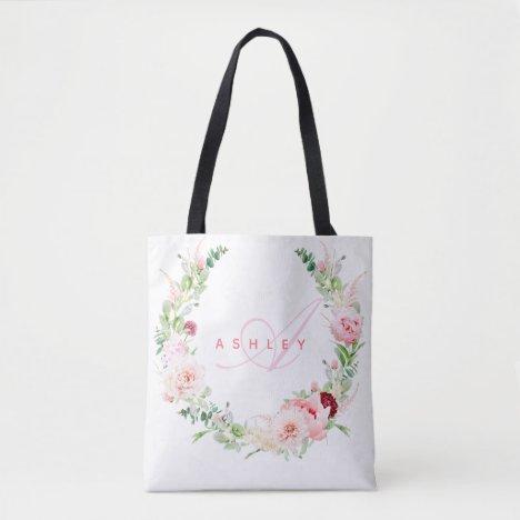 Pink Botanical Rose & Peony Wreath Name Monogram Tote Bag