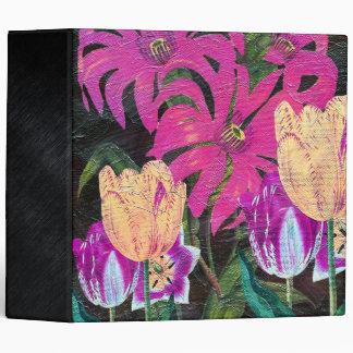 Pink Botanical Tulips Oil Brush Painting Binder